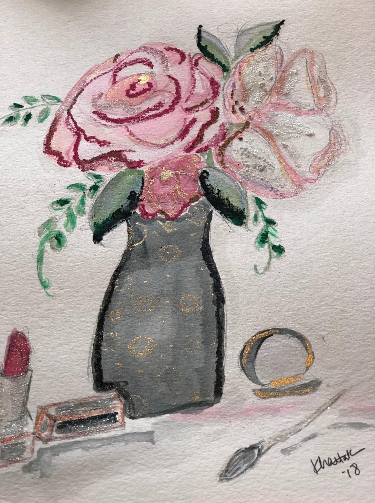 flowers-lipstic-powder-mixed-media-illustration
